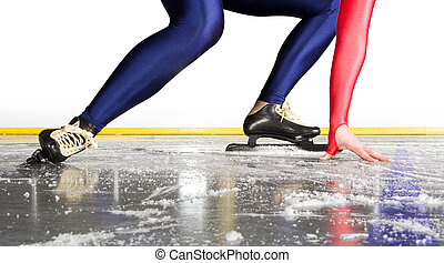 Starting line - Speed skater at the starting line on an...