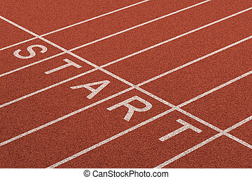 Starting line as a business symbol of the metaphore saying ready set go for the start or beginnings of a planned strategy for success as represented by a track and field stadium background as a concept of opportunity and setting goals.