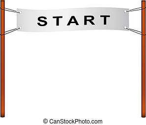 Starting line %u2013 ribbon with start on white background