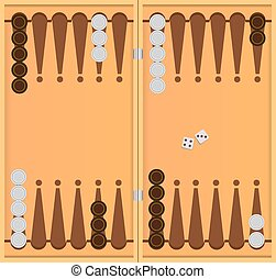 The starting position in the game of backgammon. Vector illustration.