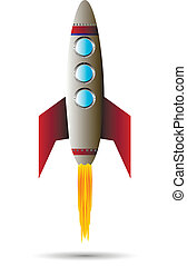 Stylized vector illustration of a starting rocket ship on white background