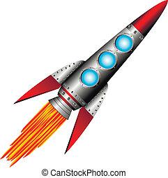 Starting rocket on white background - vector illustration.
