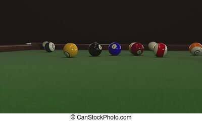 Starting shot of a billiard game in 4k