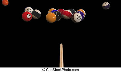 Starting shot of a billiard game with alpha channel in 4k