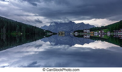 Starting to rain time lapse in Misurina lake perfectly...