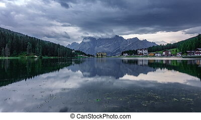 Starting to rain time lapse in Misurina lake - Wide angle...