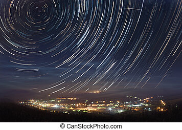 Startrails over the town