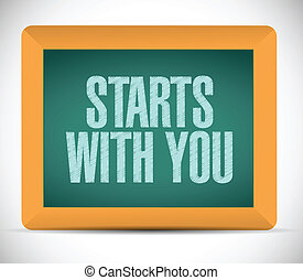 starts with you message illustration design over a white background