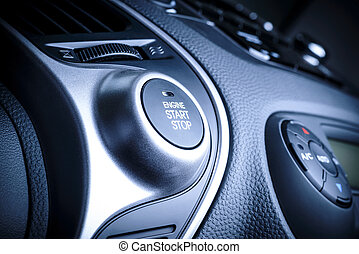 START/STOP ignition button in car, vehicle. - START/STOP...