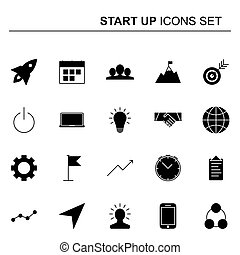 Startup and business icons set. Vector design