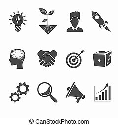 Startup and creative icons set. Idea and development, vector...