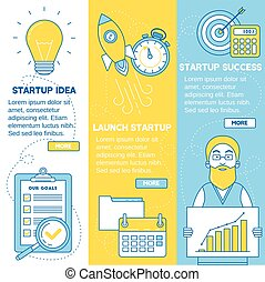 Startup banners. Business idea, launching startup and...