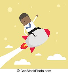 Startup Business. African businessman on a rocket.