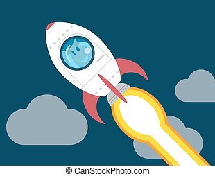 Startup Business. business plan idea concept Businessman on a rocket