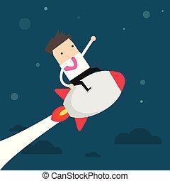 Startup Business. Businessman on a rocket.