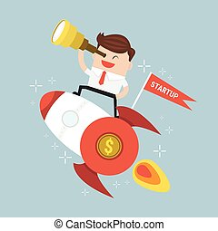 Startup Business. Businessman on a rocket. Flat design business.