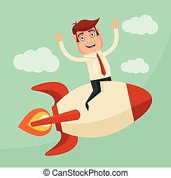 Startup Business. Businessman on a rocket. Vector flat...