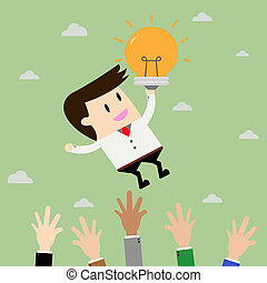 Startup Business. Businessman on blub idea. Flat design business concept illustration