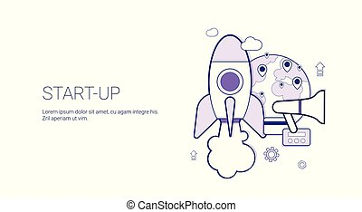 Startup Business Concept Template Web Banner With Copy Space