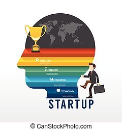 Startup Business design concept step on head shape idea. with flat icons. vector illustration