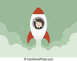 Startup Business. Flat design illustration. Businessman on a...