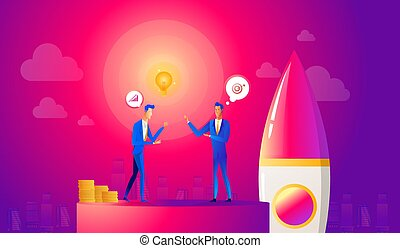 Startup business illustration. Businessmen make a agreement on idea before launching rocket. Innovation technology start up. Spaceship launch to the sky