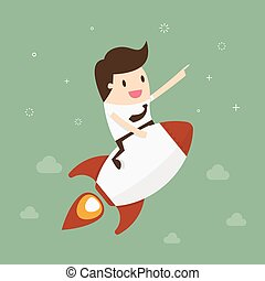 Startup Business. Businessman on a rocket. Flat design...