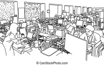 startup business people group working at modern office vector illustration sketch doodle hand drawn isolated on white background