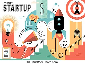 Startup business project concept illustration