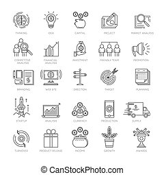Startup business project marketing conceptual strategy icons symbol set