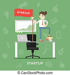Startup business project process vector flat