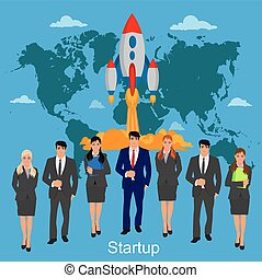 startup, business team, vector