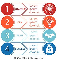 Startup bussines minimal infographic circles arrows 4 ...