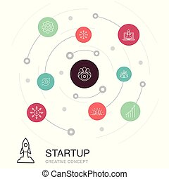 Startup colored circle concept with simple icons. Contains such elements as Crowdfunding, Business Launch, Motivation, Product development