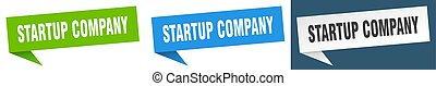 startup company banner sign. startup company speech bubble ...