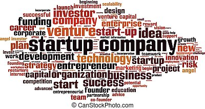 Startup company-horizon - Startup company word cloud concept...