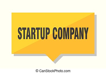startup company price tag - startup company yellow square ...