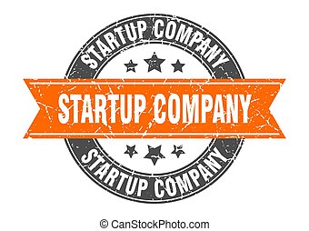 startup company round stamp with ribbon. label sign - ...
