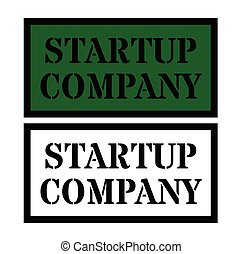 startup company sign on white background . Label sticker
