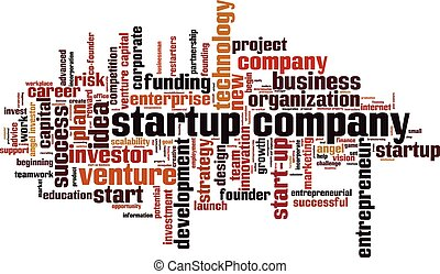 Startup company word cloud concept. Vector illustration
