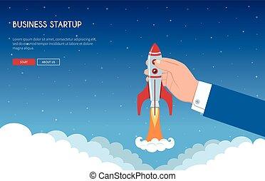 startup, conceito, bandeira, negócio