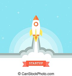 Startup Concept - Startup project concept, rocket launch....