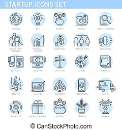 Startup concept line icons vector set business project marketing conceptual strategy