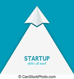startup concept. paper airplane on blue background