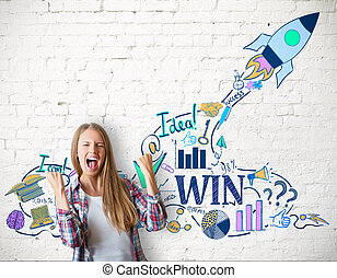 Startup concept. Happy caucasian girl with creative rocket...