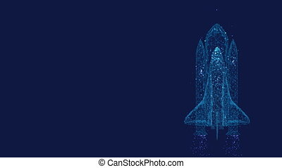 Startup concept. Shuttle launch from triangles and luminous points. Background of beautiful dark blue night sky.  Low poly.
