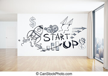 Startup concept - Interior with business rocket sketch on...