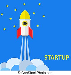 startup concept with rocket, sky and stars, stock vector illustration
