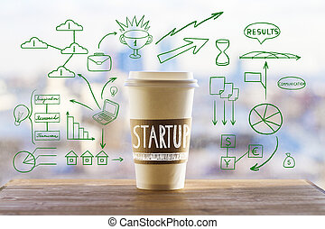 Startup concept with take away coffee cup and abstract business drawings on wooden desktop and blurry city view background