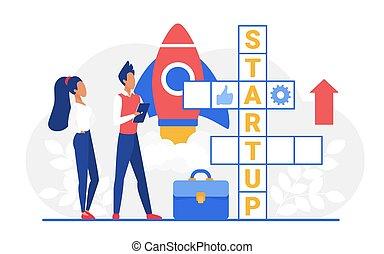 Startup crossword, cartoon business people team standing next to crossword puzzle